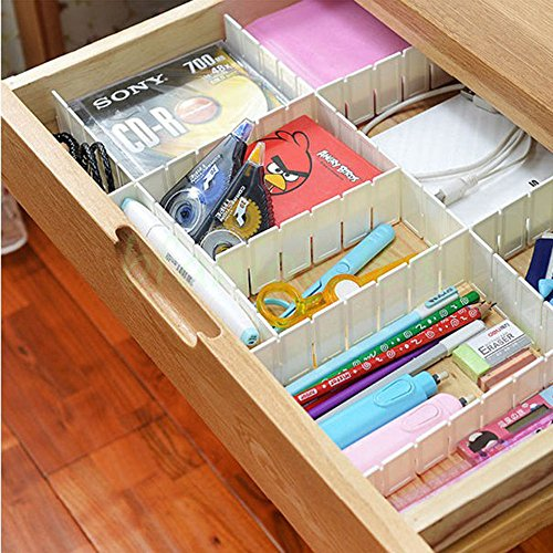 HOKIPO® Adjustable & Interlocking Plastic Closet Drawer Dividers Organizers, 43.5 X 5cm, 7 Strips