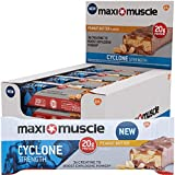 Maximuscle Cyclone High Protein and Creatine Bar, Peanut Butter, 60 g, Pack of 12