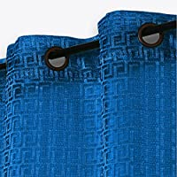 2x Cortinas Visillos Translúcidos con Anillos, Diseño Geométrico Retro, Decoración para Ventana Salón Habitaciones Balcón, 140x260cm, Azul