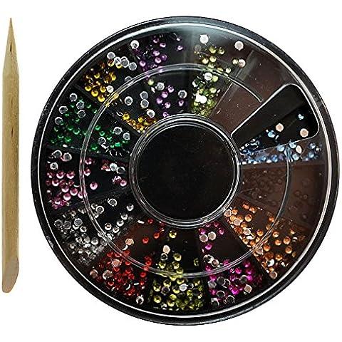 Caja rueda organizadora de diamantes de acrílico para decoraciones de uñas manicura con aplicador Manicura pedicura - Uñas artificiales Material: Plástico