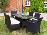 Barcelona Rectangular Grey Rattan Garden Furniture Table and 6 Chairs Dining Set