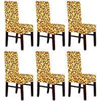 Pack de 6elástico fundas para respaldo de silla, silla Slipcovers lavable extraíble fundas de asiento para Hotel Restaurante sala de comedor de fiesta
