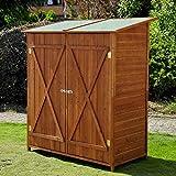 Meuble armoire abri de jardin rangement outils exterieur en bois massif 54