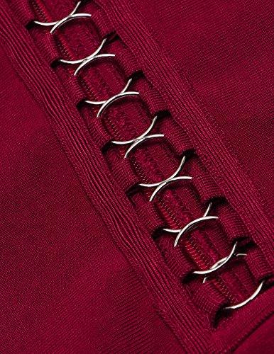 Meilun Les Manches Longues Dentelle Creux Pansement Robe De Soirée vin rouge