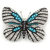 Black, Clear Austrian Crystal with Light Blue Bead 'Zebra' Butterfly Brooch In Rhodium Plating - 50mm L