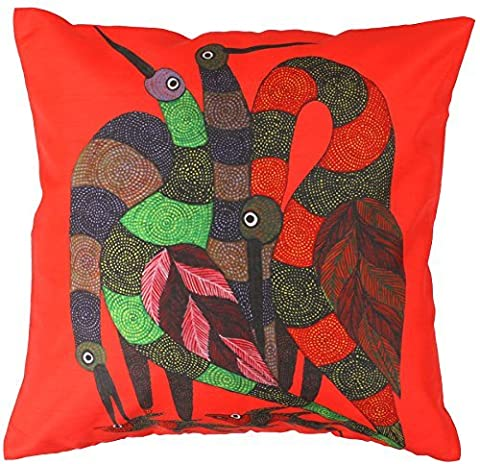 SouvNear Red Cushion Cover 18 x 18 with Zipper - Decorative Animal Print Bird and Fish Square Throw Pillows Case