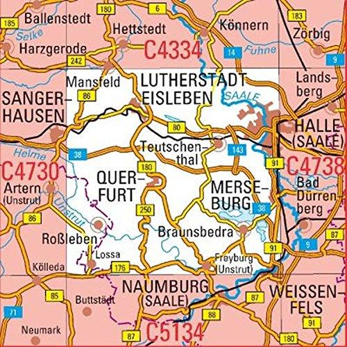C4734 Halle (Saale) Topographische Karte 1 : 100 000: DTK 100 Sachsen-Anhalt (Les Halles)