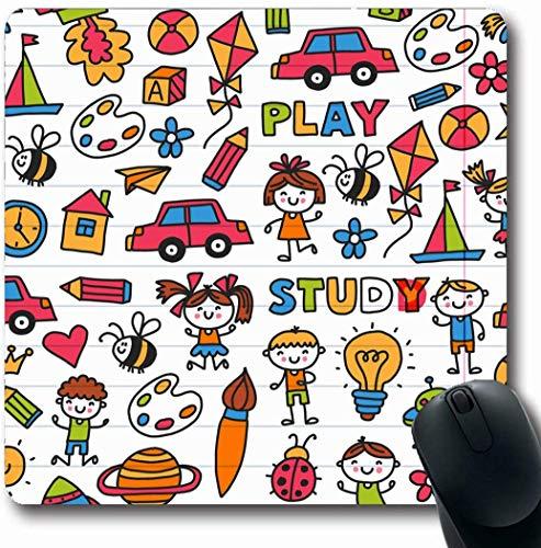 Luancrop Mousepads Kit ABC Zeichnung Gesang Erforschung Sport Kindergarten Springen Vorschule Auto Abenteuer Flugzeug Alarm rutschfeste Gaming Mouse Pad Gummi Längliche Matte (Auto-springen-kit)
