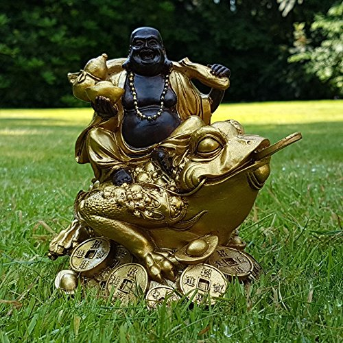 Muttermui Mui Wohnkultur Garten Dekor Happy Buddha auf Frosch Deko Figur Feng Shui Statue Budda on Frog Joga Glück Garden Decor