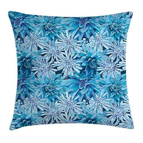 Hats New Dahlia Flower Decor Throw Pillow Cushion Cover, Grungy Watercolors Winter Frozen Snow Blooms with Spiky Incurved Petals Image, Decorative Square Accent Pillow Case, 18 X 18 Inches, Blue