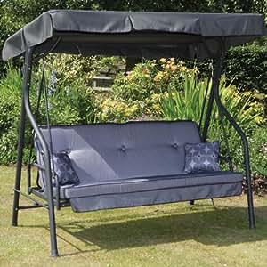 Albany 3 Seater Swing Seat Grey Swing Bed Garden