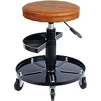 Haskyy Höhenverstellbar Werkstattstuhl Werkstatthocker Werkstattsitz Arbeits-Hocker-Stuhl-Sitz Braun mit 5 Rollen | ca…