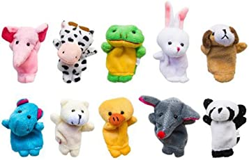 KARP Cute Velvet Farm Style 10Pcs Animal Finger Puppets Toy Set