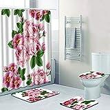 YEARGER 4 Sätze Badezimmerdekoration Dekorative Blumen Duschvorhang Rose Blume Pedestal Rug + Deckel WC Cover + Badematte 180cm x180cm