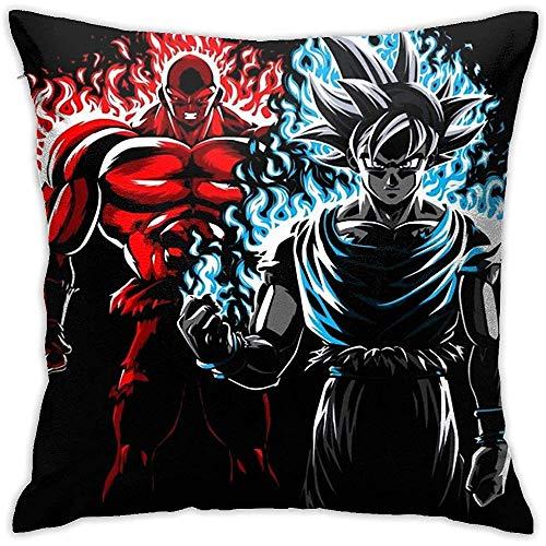 Funda De Almohada Cuadrada,Twin Sides Funda Cojín,Dragon Ball Z Jiren Vs Goku Red Blue Flames 45X45Cm...
