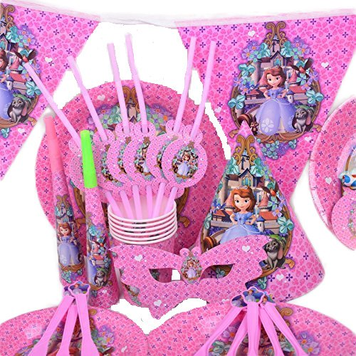 Disney 's Frozen 2016Sawyer Mädchen-Geburtstag Hochzeit Party Dekoration Geschirr Cartoon 16Pack Kit by trimmen Shop (Pink) (Disney Mickey Mouse Scene Setter Dekoration Set)