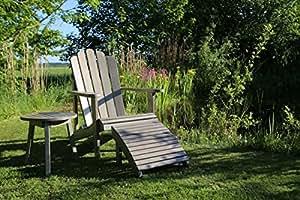 Dreams4Home Gartenmöbelset 'Creek', Loungemöbel, Gartenmöbel, Stühle, Gartensessel, Relaxsessel, Gartenbank, Gartenstühle, Holz, 1 Sessel, 1 Tisch, Garten, in grau