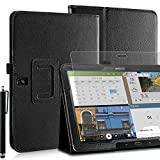 Invero® Premium Hülle Ledertasche umfasst Ständer Feature, Displayschutzfolie und Eingabestift Kugelschreiber für Samsung Galaxy Tab Pro 10,1 Zoll SM-T520 SM-T525 (Schwarz / Black)