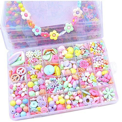Hemore 24 Gitter schnüren & Stringing Perlen Kinder DIY Perlen Armband Haar Verschluss Halskette Fähigkeiten Spielzeug Rosenkranz Perlen 1Set