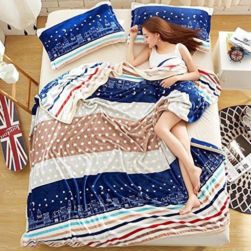 Rollsnownow Brown-blaue Streifen Kind Decke Flanell Sommer Individual Student Klimaanlage Decke Sofa Decke ( größe : 120*200cm )