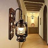 BYX Vintage Applique Murale Industrielle Suspension Abat-Jour En Verre En Bois Rétro E27 Lanterne Lampe Intérieur Kérosène Ap