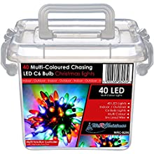 40 Multi Coloured Chasing LED Bulb Lights String Christmas Tree Decoration