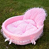 Sedensy Pet Bett für Hunde & Katzen Lovely Lace Princess Cat Dog Pet Nest Warm Haus (S, Rosa)