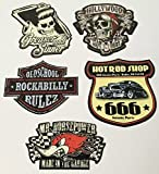 MG610 / Aufkleber Set Rocker Breite je ca. 6cm Rockabilly Hot Rod Shop Sticker 666 Devil Old School Grease 50th 60th 70th