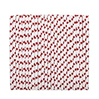 tecmac Eco-Friendly and Disposable Red Heart Shape Design Paper Straws | 8 mm | 100 Pieces