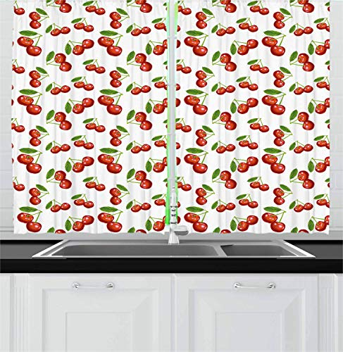 Rocker Berry (Hmihilu Fruit Kitchen Curtains, Cherry Pattern Design Fresh Berry Fruit Summer Green Garden Macro Digital Print, Window Drapes 2 Panel Set for Kitchen Cafe Decor, Red Green White 110x90 in)