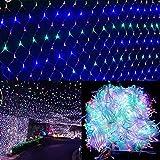 YANGLAN Net Licht mit Fernbedienung und Timer, 1,5 X 1,5 M Outdoor LED Mesh Licht für Hochzeit Hintergrund, Weihnachten, Urlaub, Camping Dekoration (8 Modi, dimmbar)