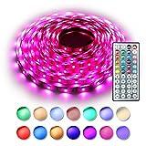 RaThun LED Stripes Streifen Beleuchtung 10M 32.8 Ft 5050 RGB 300 LED Flexible Farbe wechselnden Komplettpaket mit 44 Tasten IR-Fernbedienung, Kontrollbox, 12V 5A Netzteil für Heim Dekorative