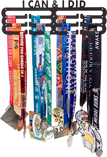 LISH I Can & I Did Medaille Kleiderbügel Display-Läufer Race Inspirierende Marathon Medaille Halter, hält bis zu 60+ Medaillen -