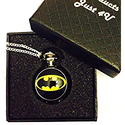 Batman Logo Pocket Watch Necklace - Silver Plated Chain - GIFT BOXED WITH FREE SPARE BATTERY