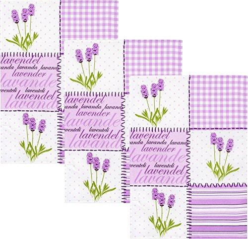 Geschirrtuch 3er-Pack Halbleinen weiß-lavendel Größe 50x70 cm - Lavendel Geschirrtücher