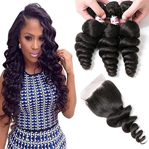 Silkylong Brazilian Human Hair Weave Bundles With Closure Loose Wave Hair 3 Bundles 4 4 Size Free Part Closure 18 20 22 +16