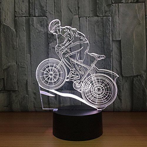 Mountain Bike Rider 3D Night LightChanging LED Desk Table Lamp 3D Illusion Sports Fans Gift (Bike Light Night Rider)