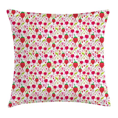 BUZRL Girls Throw Pillow Cushion Cover, Lovely Happy and Funky Summer Fruits Pattern with Smiling Cherries and Strawberries, Decorative Square Accent Pillow Case, 18 X 18 inches, Multicolor