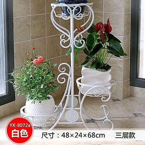 Hierro estilo europeo piso tipo planta soporte balcón multifunción olla sostenedor de la flor,8072titular de pote de la flor de un blanco de 3 pisos.