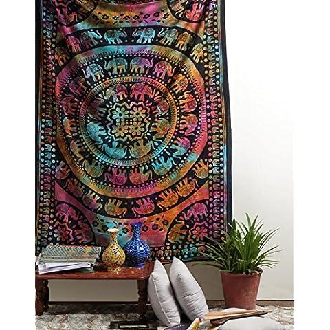 Tenido anudado del elefante del Hippie Mandala de la tapicería, Hippy Mandala de Bohemia Tapices, India decoración del dormitorio, Psychedelic Tapiz colgante de pared decorativo étnico