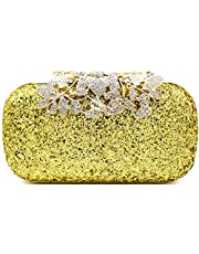 Tooba Womens Synthetic Crystal Flower Box Clutch Bag Purse