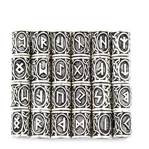 24PCS Antik Perlen Viking nordischen Runen Haar Bart Beads Silber Armband Jewelry skandinavischen Anhänger Paracord für das Handwerk DIY handmaking, #1 (Skandinavische Handwerk)