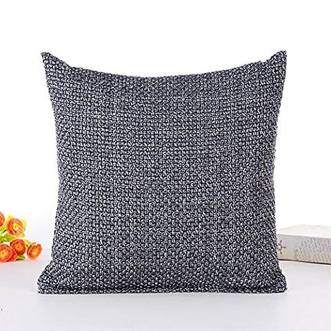 Quadratisch Kissenbezüge, kingko® Sofa Auto Taille Werfen Farbe woll Strick Kissenbezug Kissen (grau) - Solid Grigio Lana