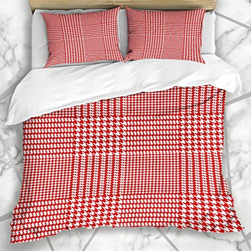 Soefipok Bettbezug-Sets Glen Pattern Houndstooth Geometric Abstract Plaid Mäntel Tartan Autumn Checker Checkered Checks Design Mikrofaser-Bettwäsche mit 2 Pillow Shams Tartan-plaid-mantel
