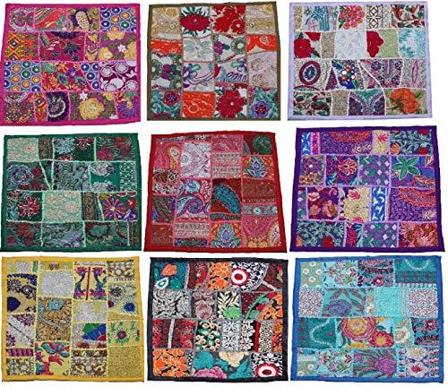 PUSHPACRAFTS - Funda de cojín Cuadrada de algodón para decoración del hogar, Estilo Vintage Indio...