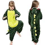 Coralup - Tutina morbida intera per bambini e bambine, con cappuccio, in pile, fantasia dinosauro, pigiama in un pezzo per ba