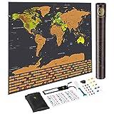 scratch off mappa del mondo, con gli Stati Uniti e bandiere dei paesi mappa del mondo, tra cui bandiere/Map Push pins/Graffiatore/RAM adesivi, Deluxe Travel Map by Cosbity