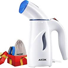 Aicok Mini Portable Travel Garment Steamer with Brush and Travel Pouch by Aicok