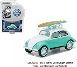 New 1:64 CLUB V-DUB SERIES 4 ASSORTMENT - GREEN 1945 VOLKSWAGEN BEETLE WITH ROOF RACK AND SURFBOARDS Diecast Model Car By Greenlight