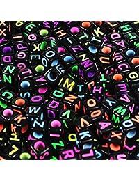 """600 Piezas 6x6mm DIY """"A-Z"""" Abalorios Letras Cuentas de Plástico de Acrílico Abalorios de Colores Perlas de Alfabeto Cuentas de"""